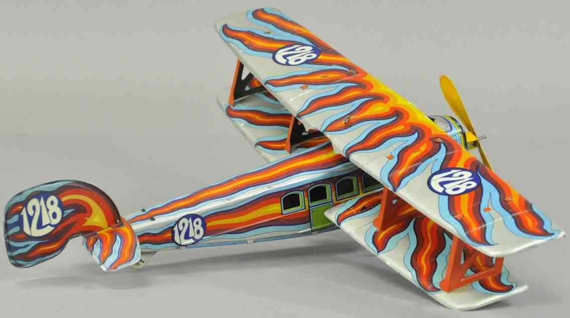 ingap 1218 tin toy bi-wing airplane