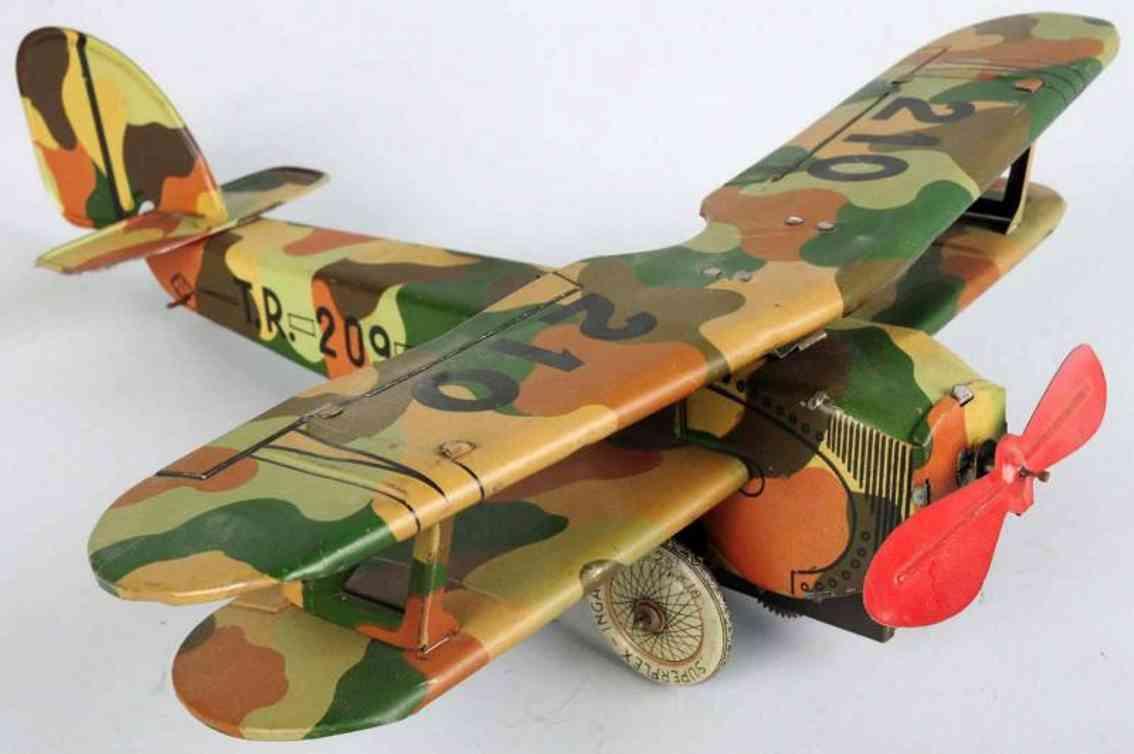 ingap 210 blech spielzeug flugzeug mit uhrwerk tarnfarbe