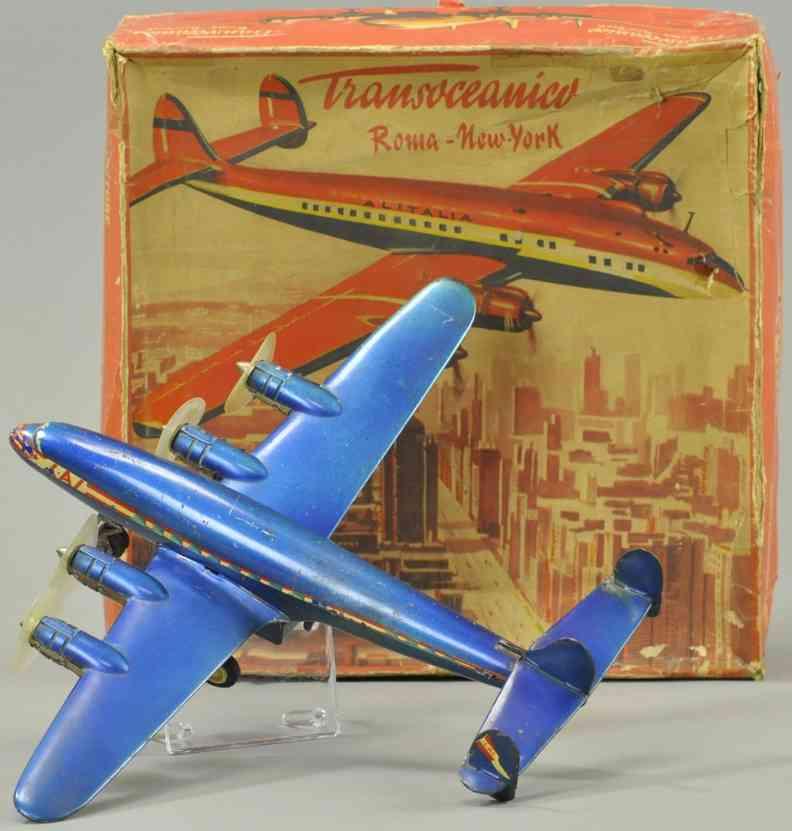 ingap blech spielzeug flugzeug transoceanico rom nach new york blau