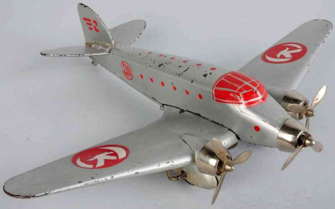 ingap S81 blech spielzeug flugzeug mit drei motoren in silber