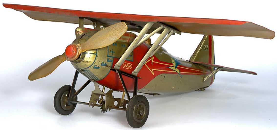 jep tin toy airplane d 27 with clockwork
