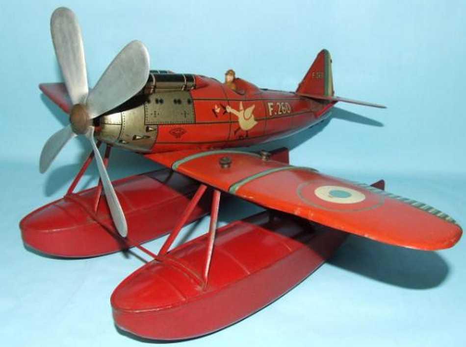 jep f260 tin toy airplane sea plane with pontoons