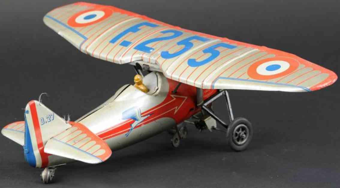 jep f 255 tin toy airplane monoplane silver clockwork