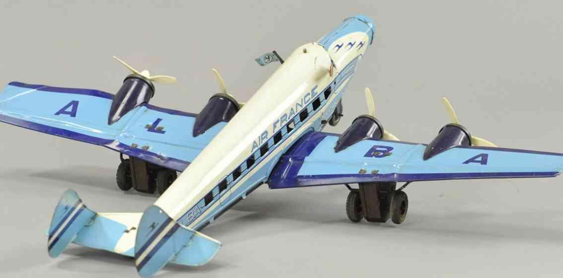 joustra blech spielzeug flugzeug alba weis blau vier propeller