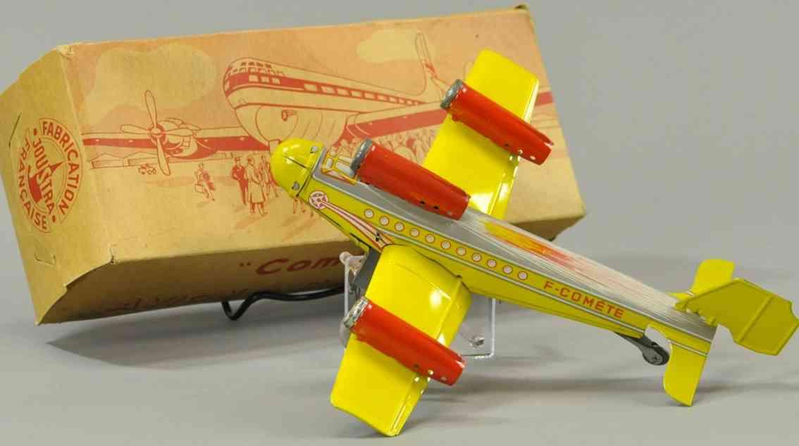 joustra f-comete blech spielzeug flugzeug rot gelb drei duesentriebwerke