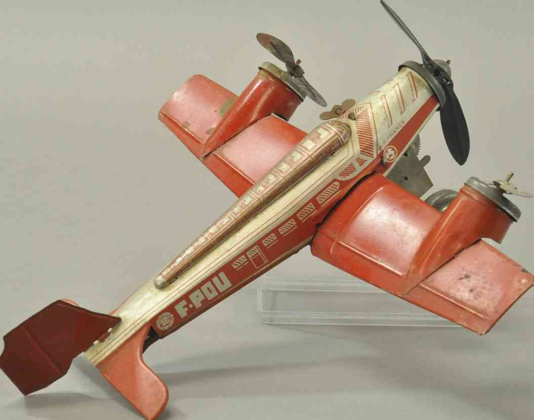 joustra f-pou blech spielzeug personenflugzeug  drei propeller uhrwerk rot silber