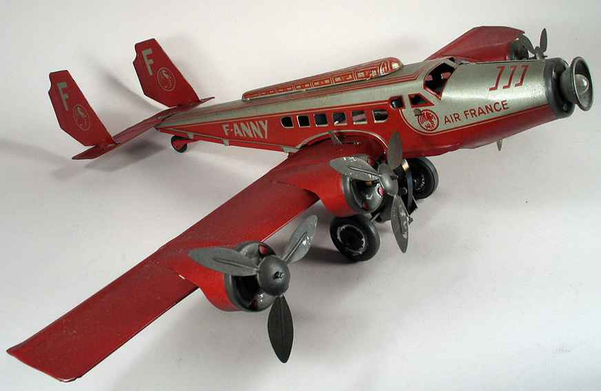 joustra f-anny tin toy airplane f-anny airplane four props