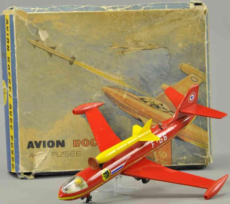 joustra f-g6 blech spielzeug flugzeug avion rotes flugzeug mit gelber rakete