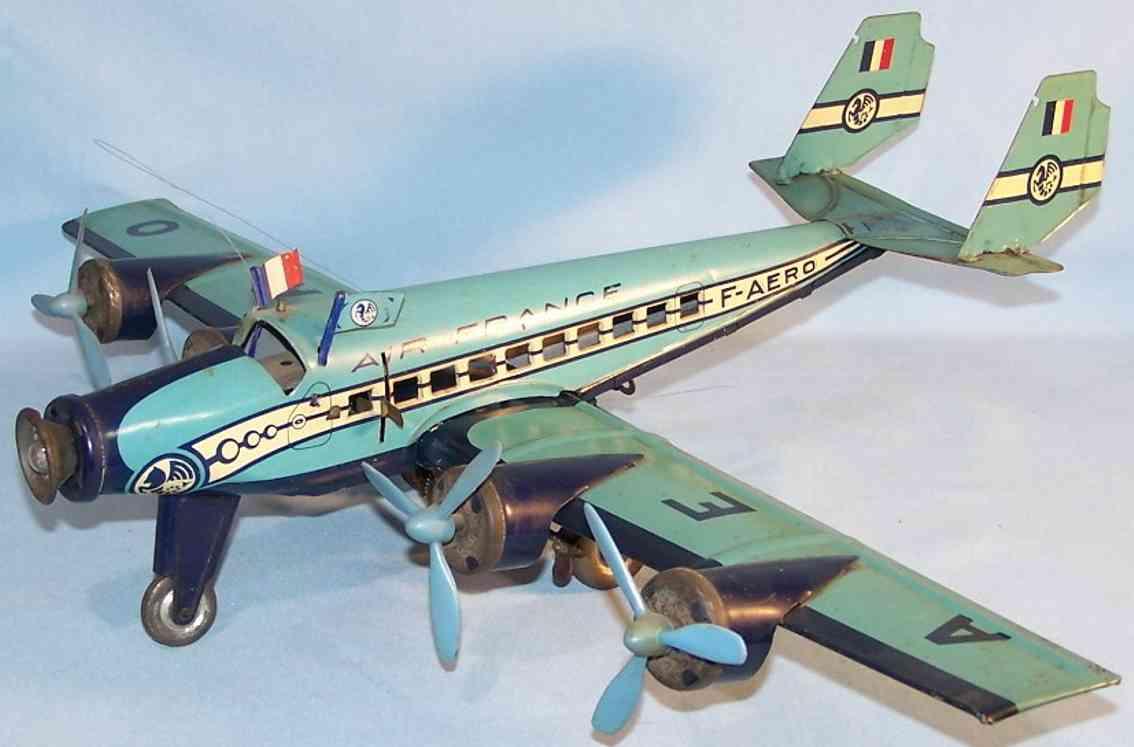joustra aero tin toy air france airplane clockwork blue white