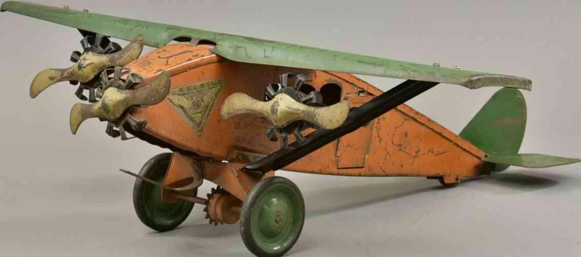 katz toy company 447 stahl spielzeug flugzeug drei propeller orange gruen