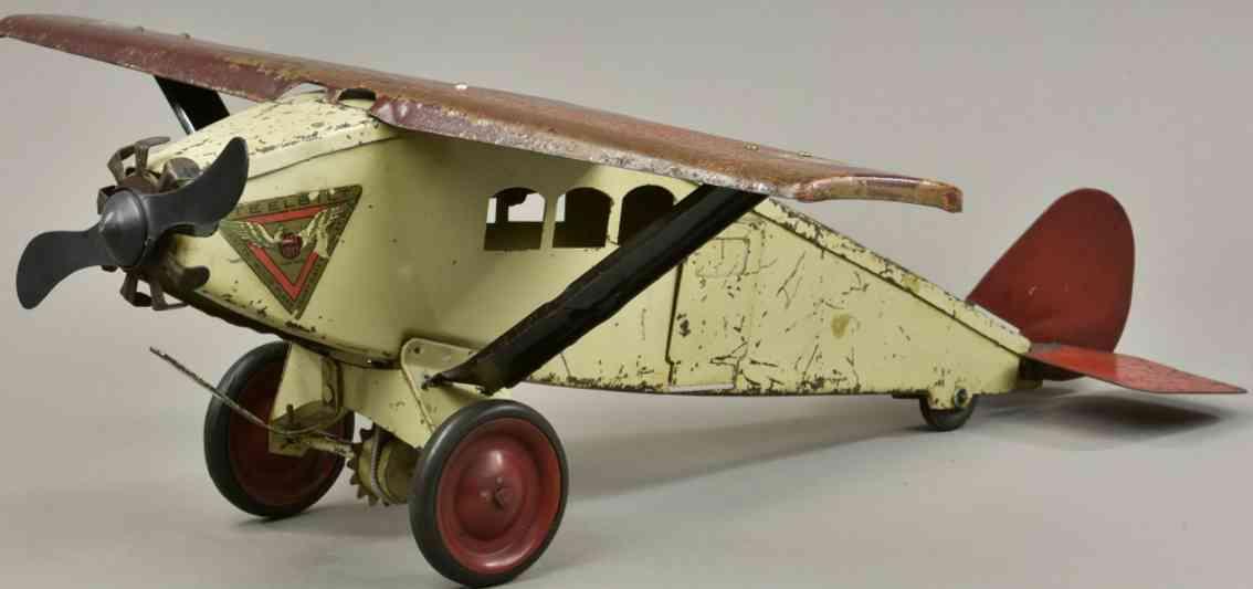 katz toy company 447 spielzeug einmotoriges flugzeug stahl rote creme steelbilt