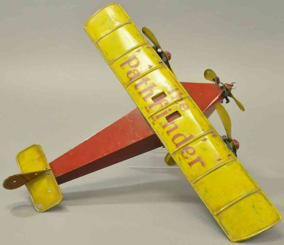 katz toy company blech spielzeug dreimotoriges flugzeug the pathfinder rot gelb