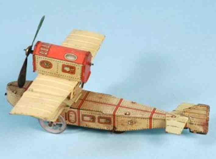 kellermann blech spielzeug flugzeug einpropellerflugzeug aus lithografiertem blech, ungewöhnlich