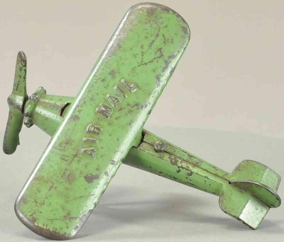 kenton hardware co spielzeug gusseisen postflugzeug gruen