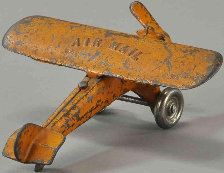 kenton hardware co spielzeug gusseisen postflugzeug airmail orange