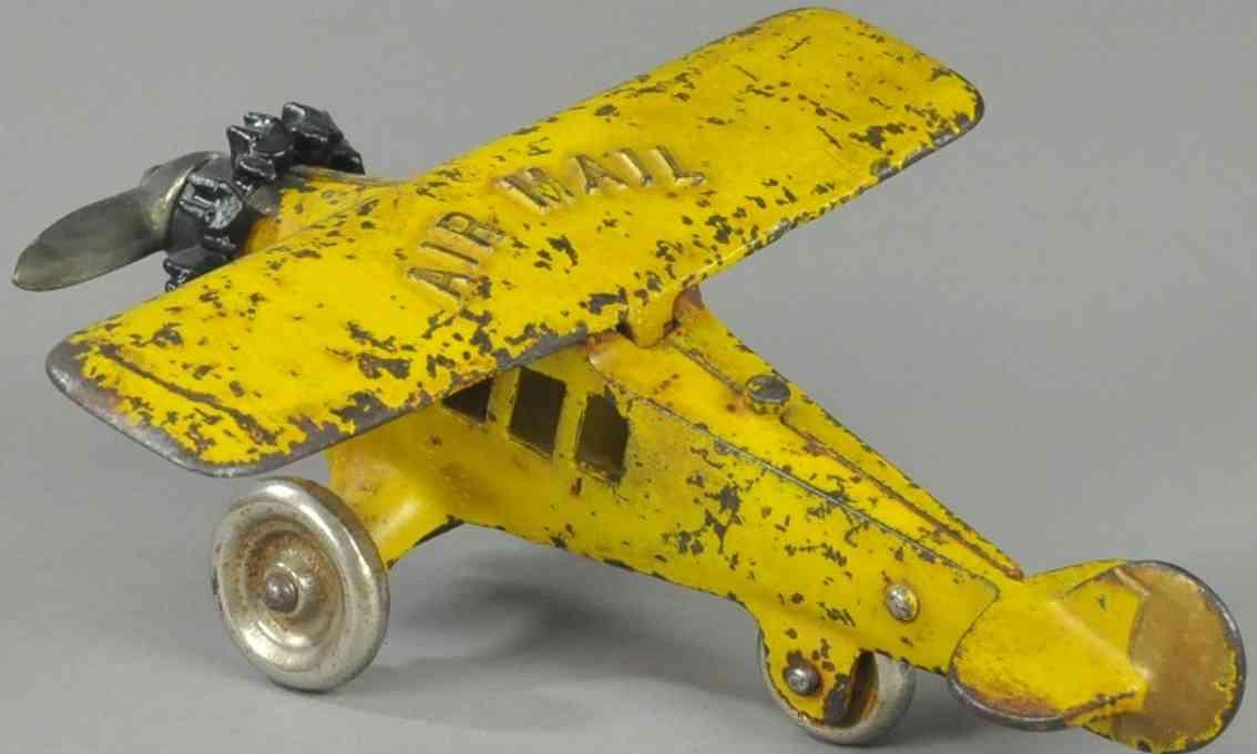 kenton hardware co spielzeug gusseisen luftpost-flugzeug gelb