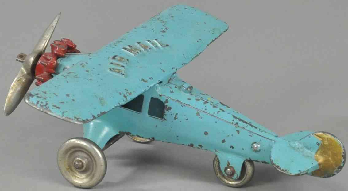 kenton hardware co spielzeug gusseisen postflugzeug blau
