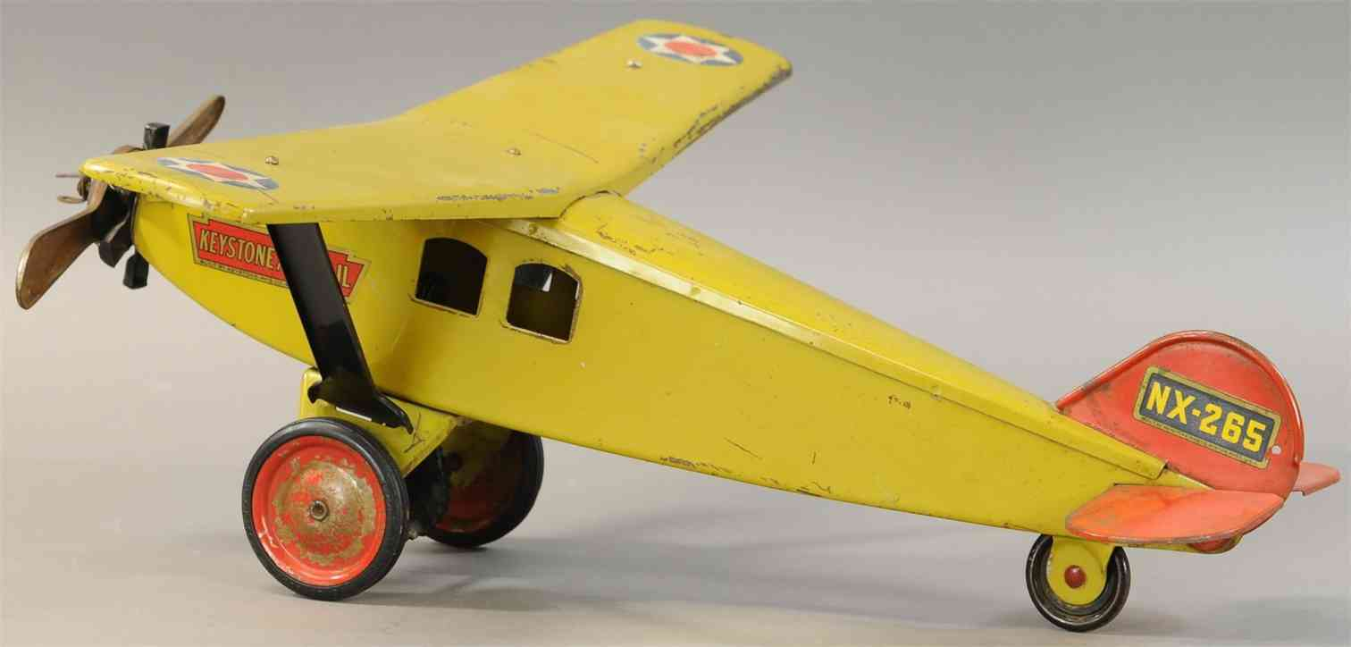 keystone  nx-265 pressed steel toy airplane airmail yellow
