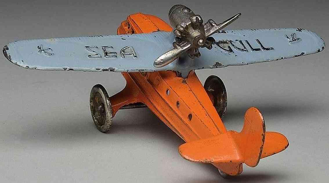kilgore sealgull spielzeug gusseisen amphibienflugzeug orange