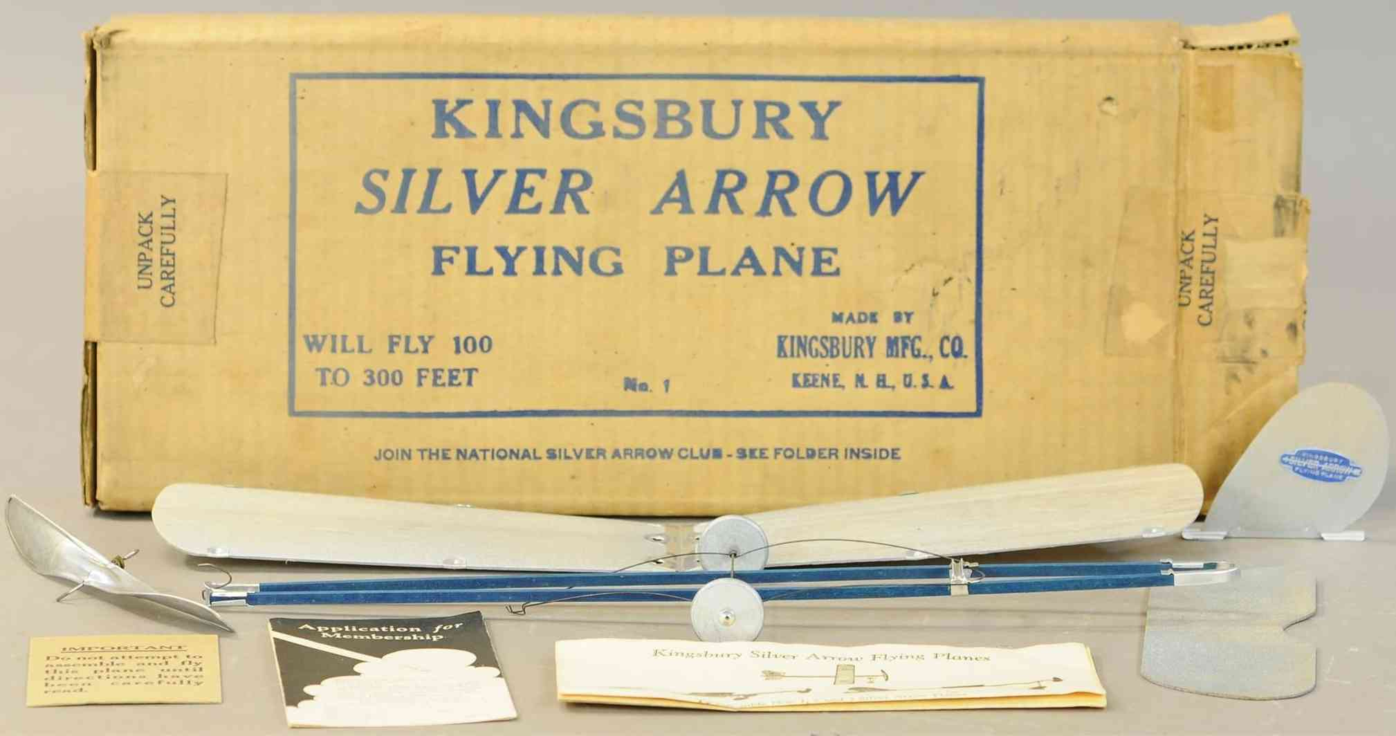 kingsbury toys wooden toy airplane silver arrow