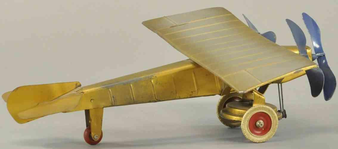kingsbury toys blech flugzeug drei motoren gold drei propeller blau