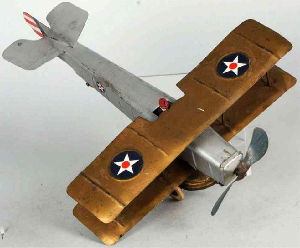 kingsbury toys pressed steel airplane wind-up bi-wing