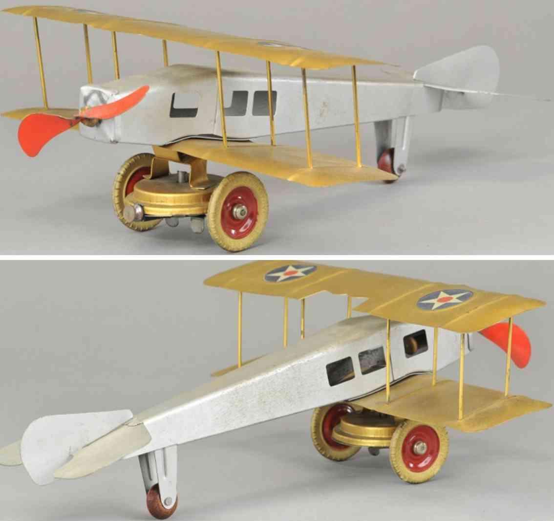 kingsbury toys pressed steel toy airplane bi-plane