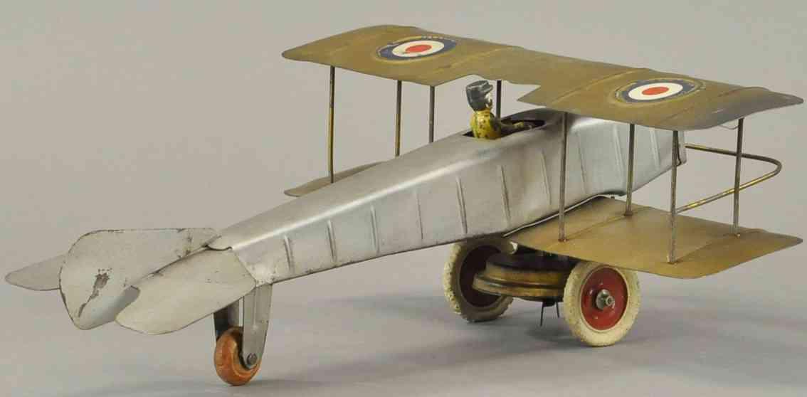 kingsbury toys pressed steel airplane wind-up bi-wing