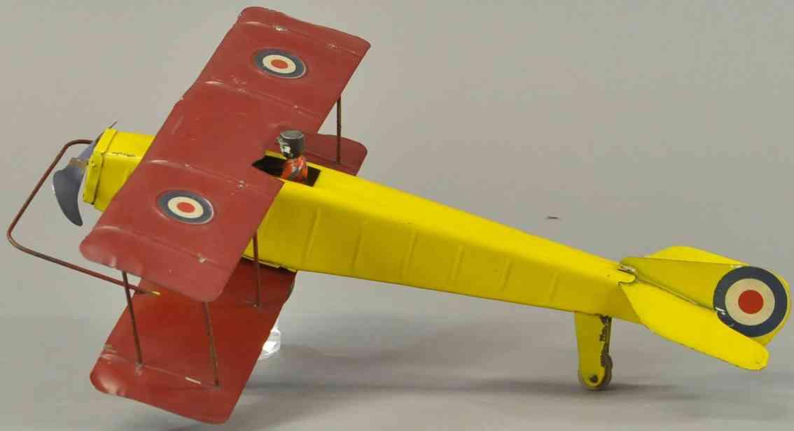 kingsbury toys tin toy bi-wing plane yellow
