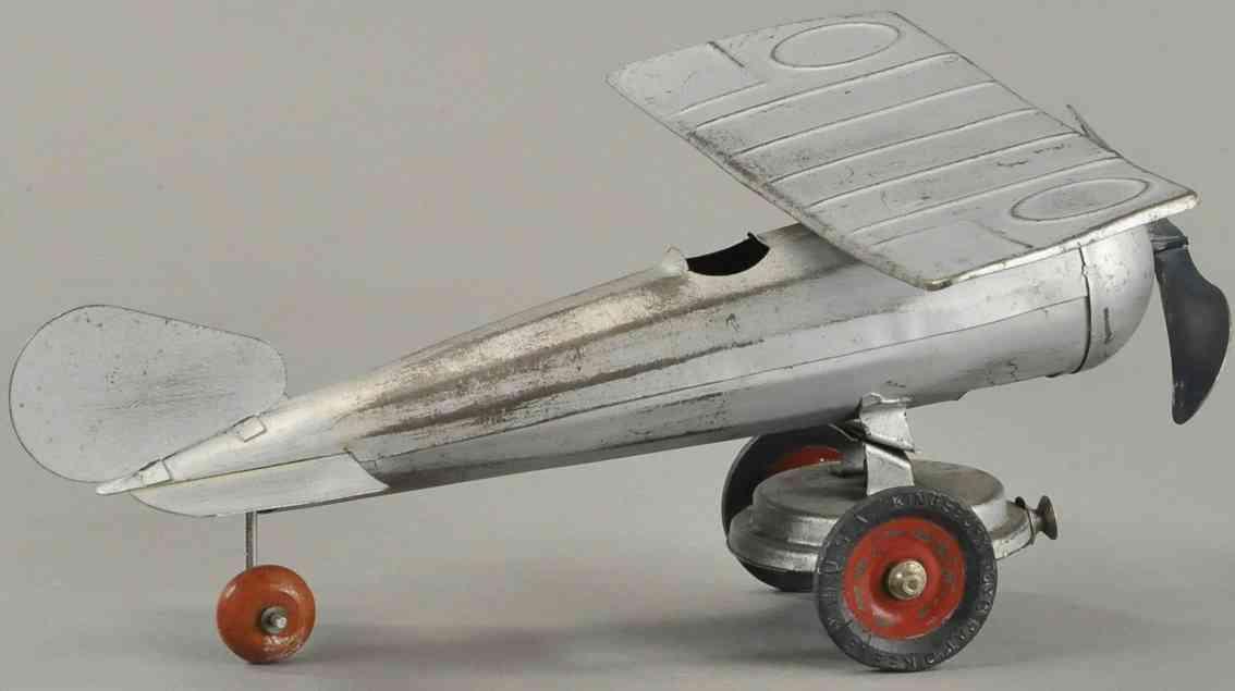 kingsbury toys blech spielzeug monocoupe flugzeug silbern