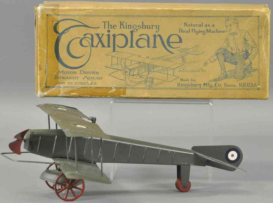 kingsbury toys tin toy taxiplane two wings one propeller motor driven