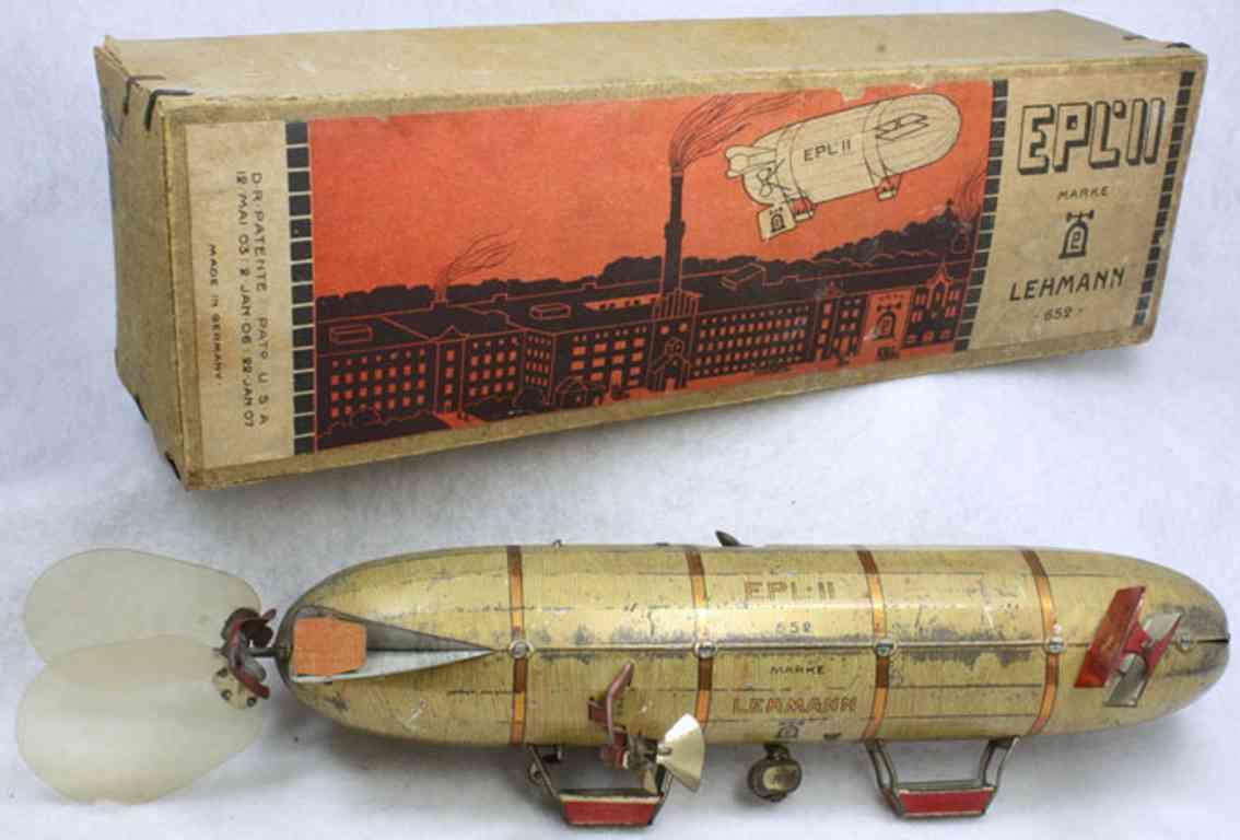 lehmann 652 tin toy zeppelin airship epl-II 2 gondolas