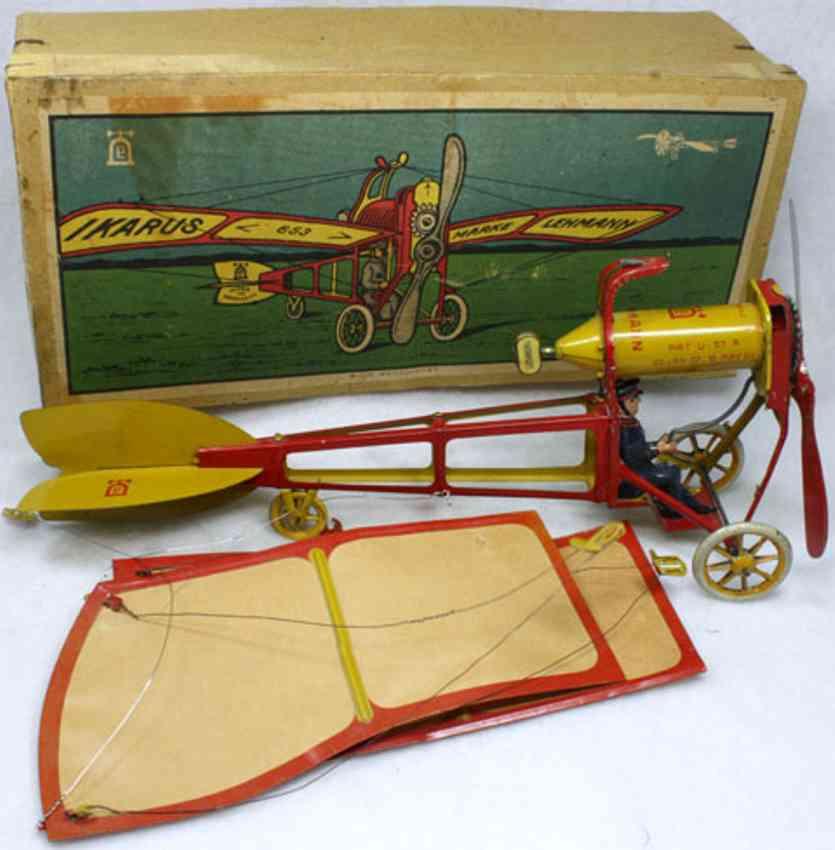 lehmann 653 tin toy airplane ikarus