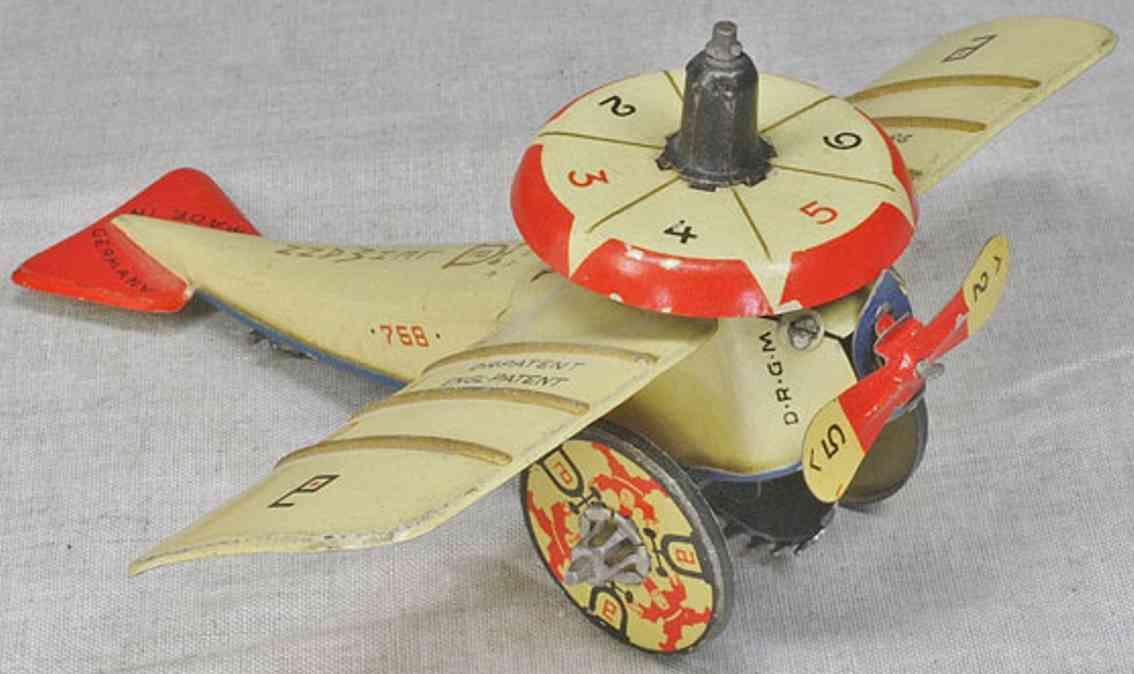 lehmann 768 tin toy airplane pilotto