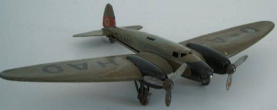 lehmann 831 831b tin toy airplane he 111 airliner