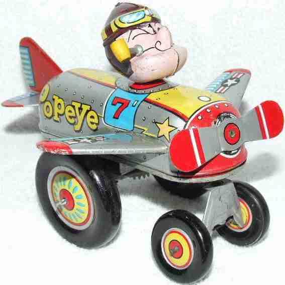 linemar blech spielzeug flugzeug popeye als pilot uhrwerk