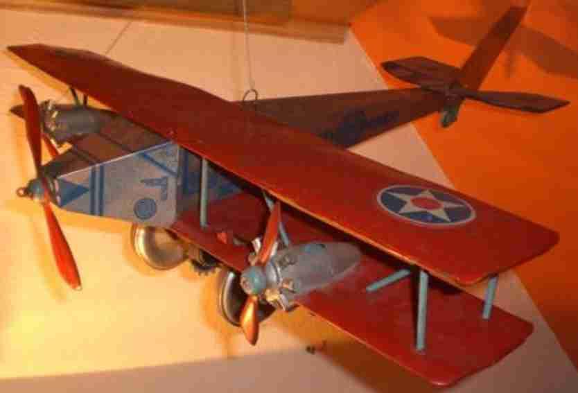 marx louis 1220 blech spielzeug flugzeug army-bomber drei propeller silbern rot