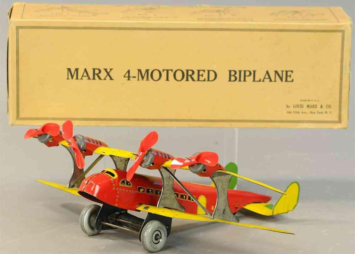 marx louis tin toy tin wind-up us mail bi-wing airplane