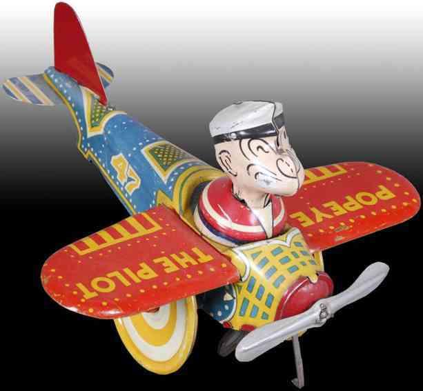 marx louis popeye als pilot im flugzeug aus blech