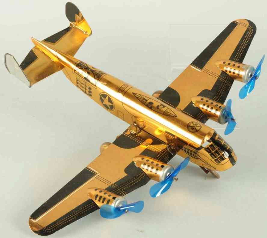 marx louis tin toy airplanr army bomber