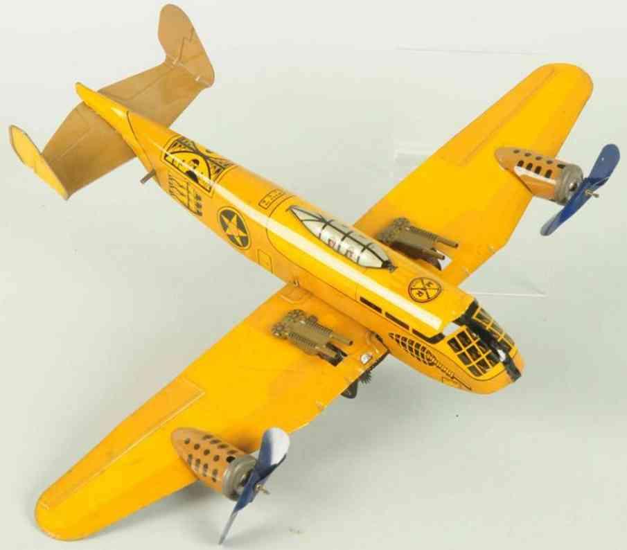 marx louis blech spielzeug bomberflugzeug gelb