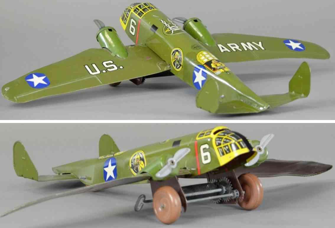 marx louis blech spielzeug bombemflugzeug armeegruen