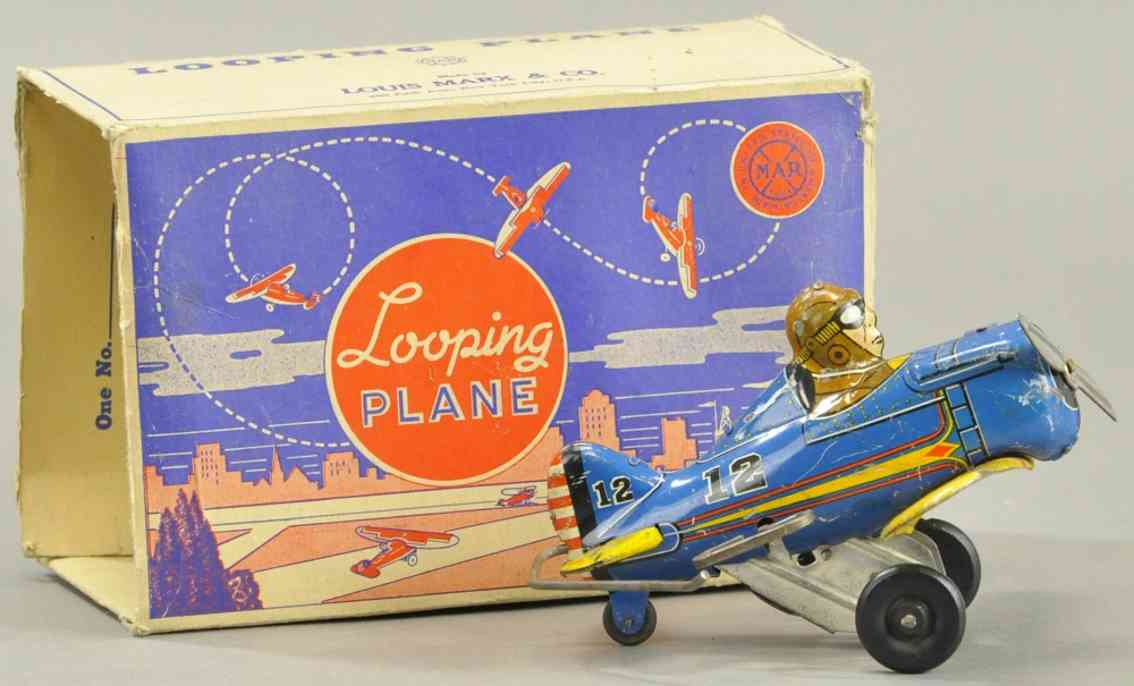 marx louis tin toy airplane looping clockwork