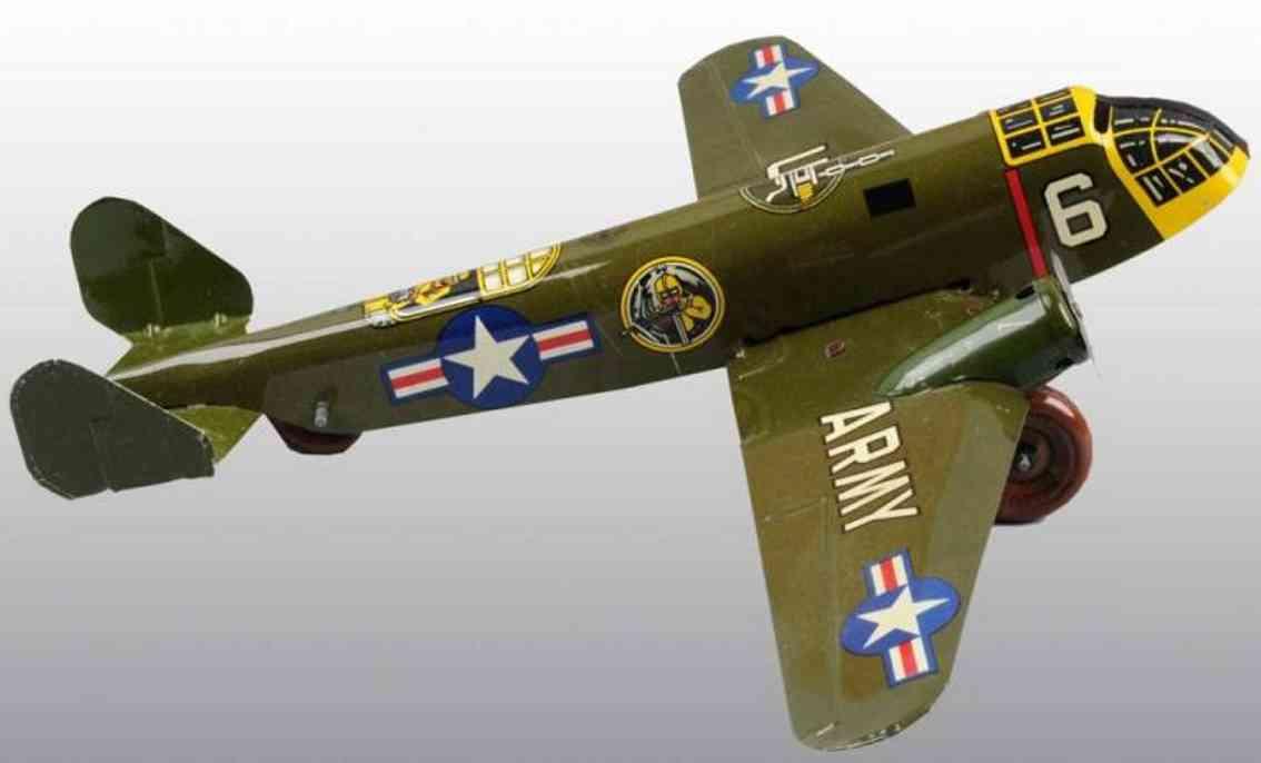 marx louis  blech spielzeug militaerflugzeug uhrwerk army 6