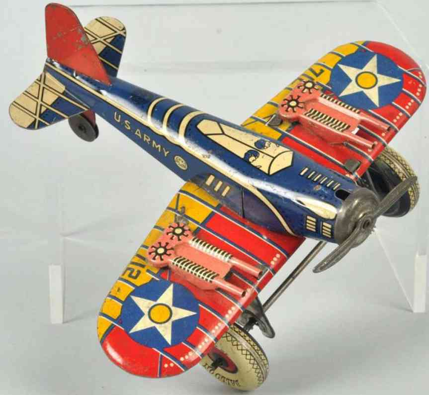 marx louis us army tin Airplane wind-up