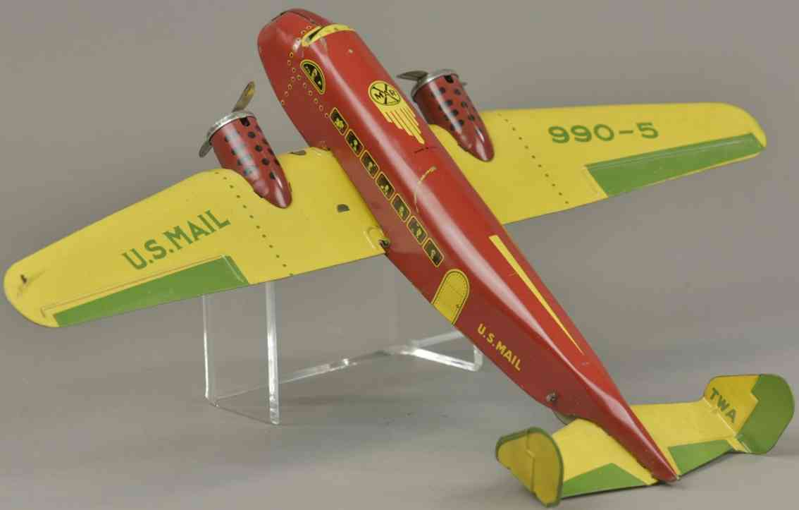 marx louis blech spielzeug us post flugzeug 990-5