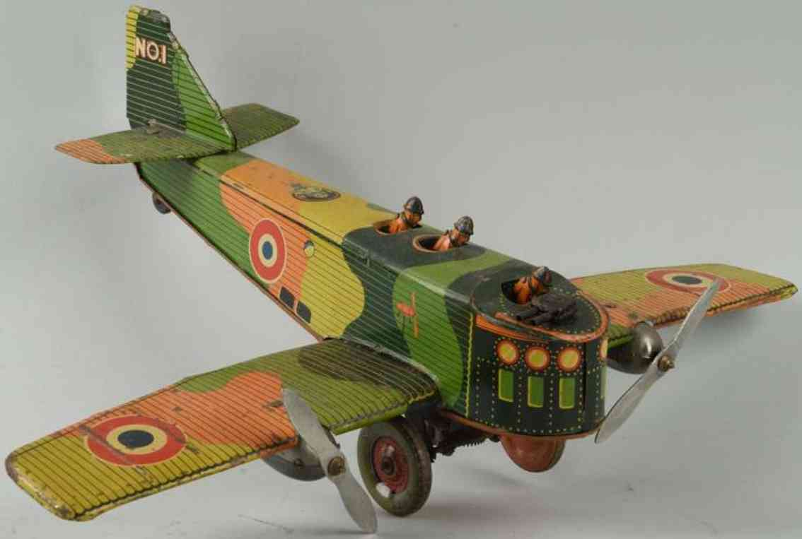masudaya tin toy military airplane camouflage colors 3 pilotes