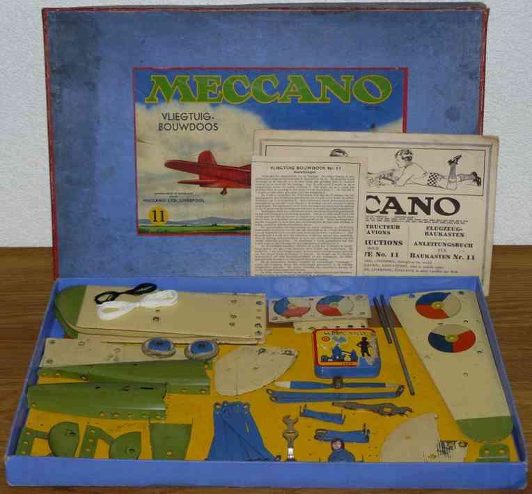 meccano constructor 11 blech spielzeug flugzeug holländisches flugzeug aud blech, diese set wurde wohl zusam