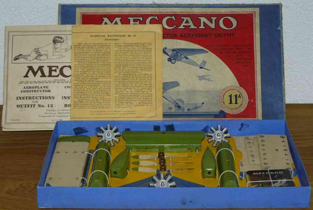 meccano constructor 11A blech spielzeug flugzeug holländisches flugzeug aus blech, dieses set sollte gemeinsa