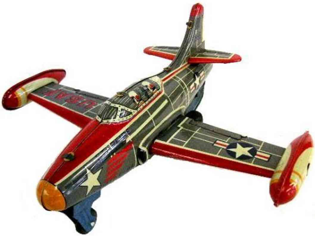 mitsuhashi tin toy airplane f-54 usa jet fighter airplane with friction drive